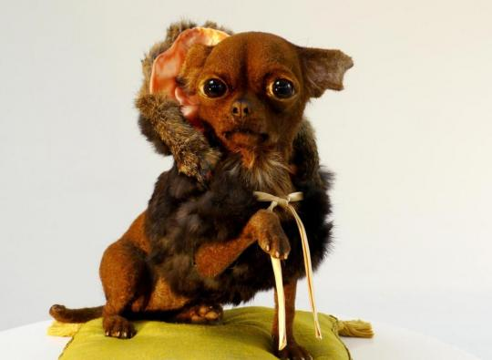 realistic sculpture dog roadkill