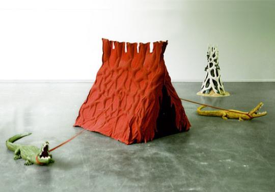 tent art sculpture crocodile