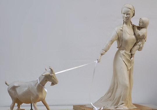 Boerin character klei model waterlinie Museum, sculptuur, schaal model geit,