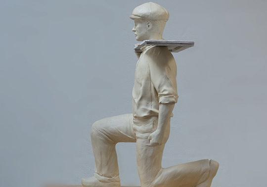 schaal model karakter werkman klei sculptuur